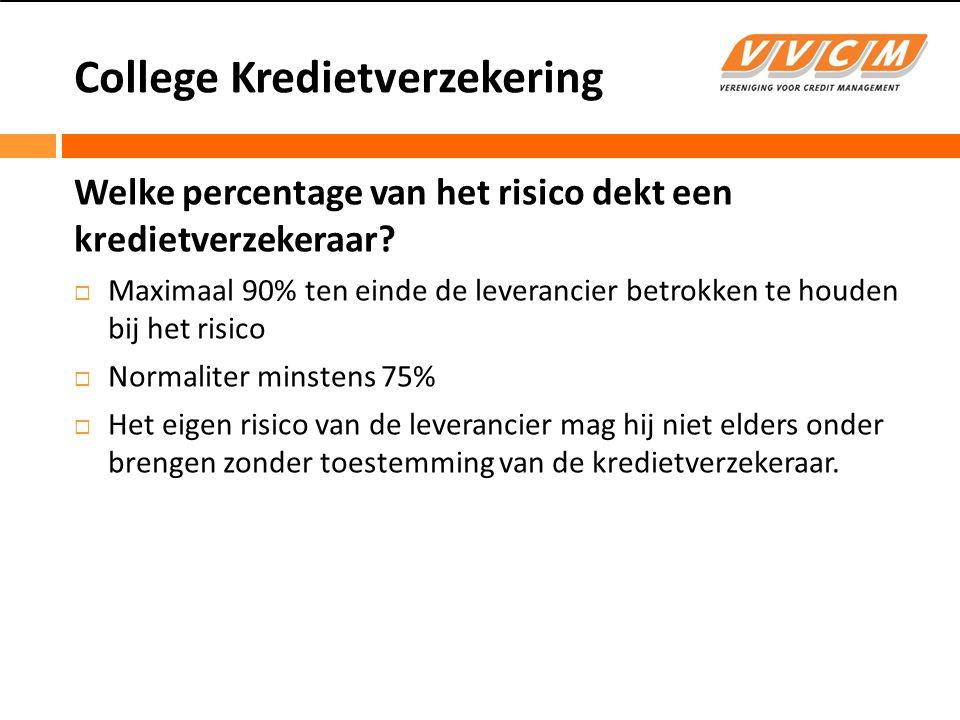 College Kredietverzekering Welke percentage van het risico dekt een kredietverzekeraar.