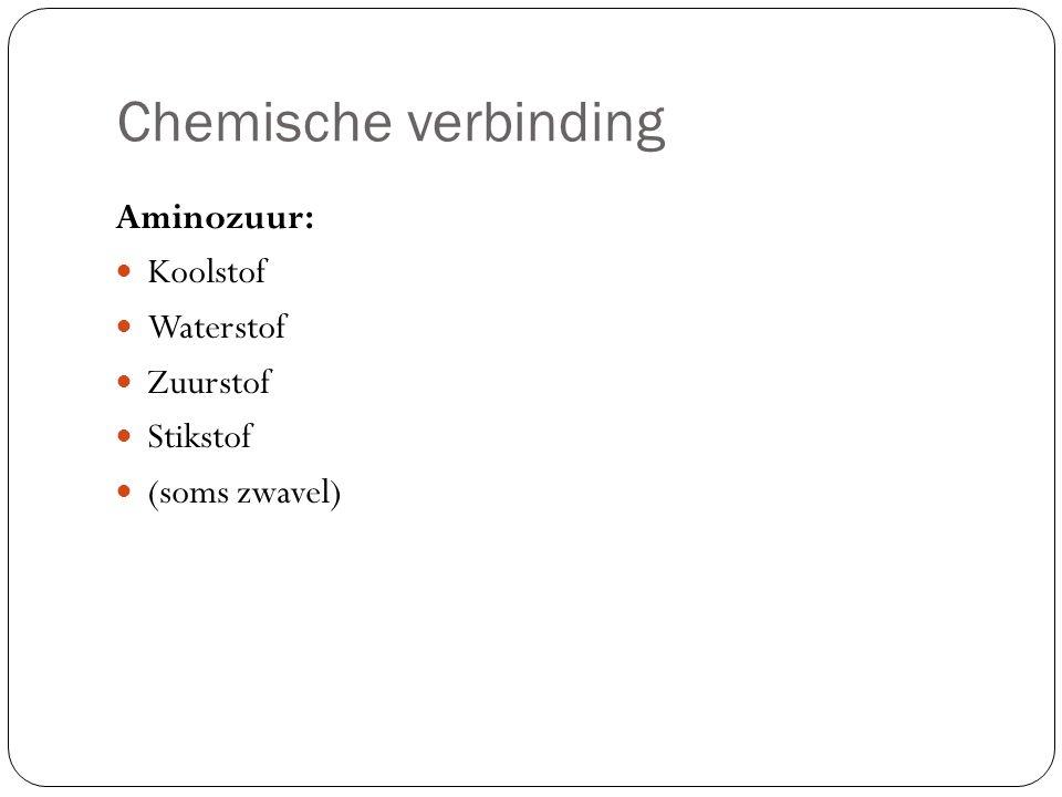 Chemische verbinding Aminozuur: Koolstof Waterstof Zuurstof Stikstof (soms zwavel)