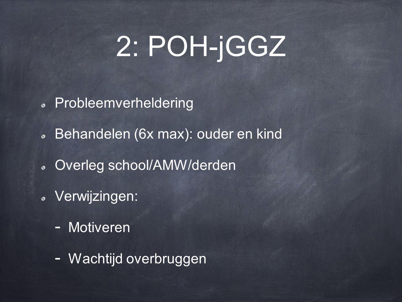 2: POH-jGGZ Probleemverheldering Behandelen (6x max): ouder en kind Overleg school/AMW/derden Verwijzingen: - Motiveren - Wachtijd overbruggen