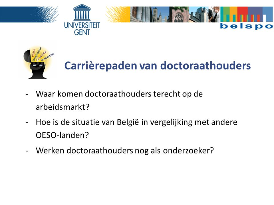 Carrièrepaden van doctoraathouders -Waar komen doctoraathouders terecht op de arbeidsmarkt? -Hoe is de situatie van België in vergelijking met andere