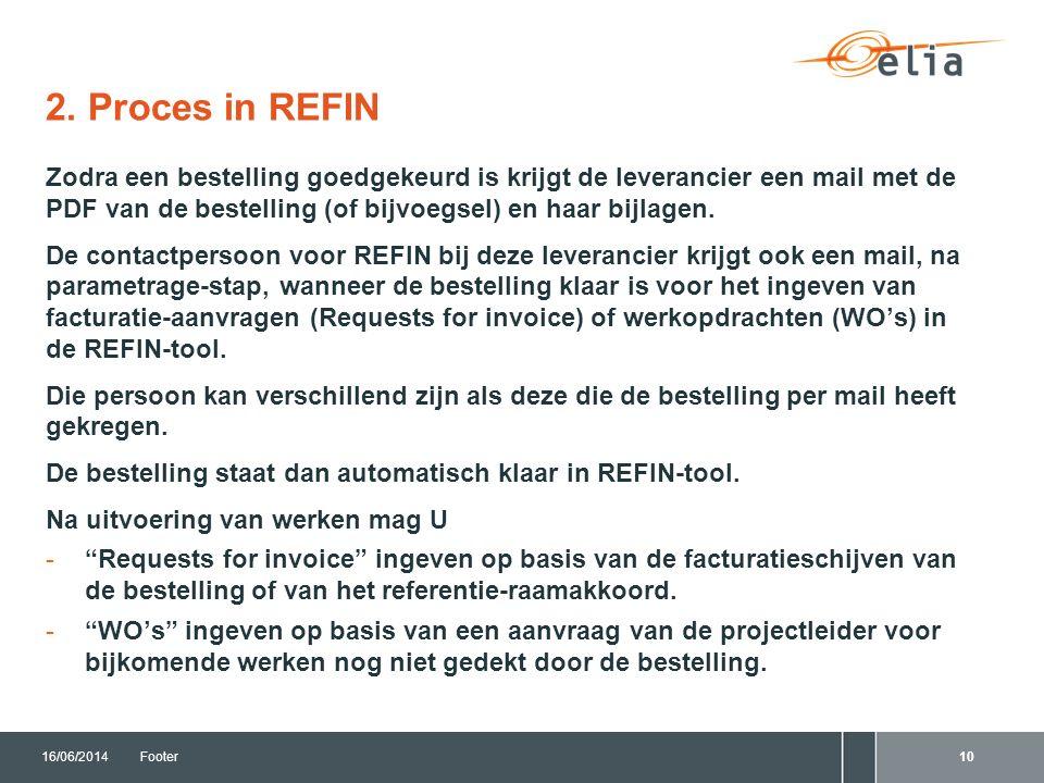 2. Proces in REFIN 16/06/2014Footer10 Zodra een bestelling goedgekeurd is krijgt de leverancier een mail met de PDF van de bestelling (of bijvoegsel)