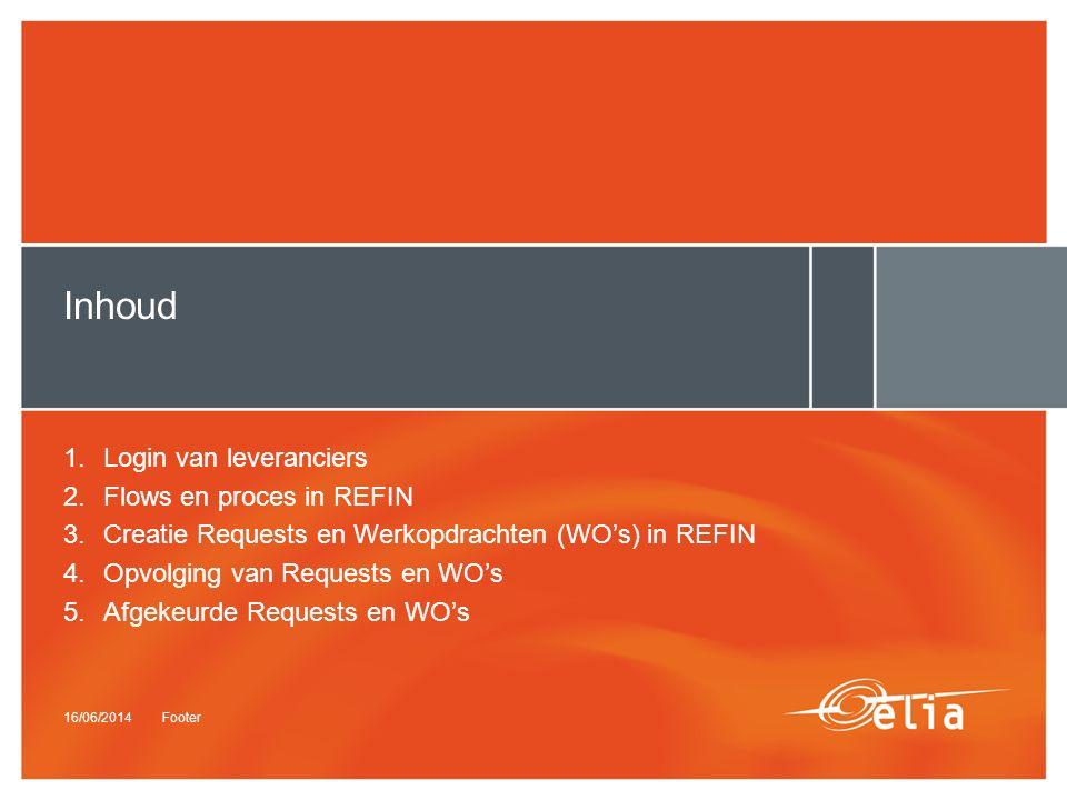 16/06/2014Footer Inhoud 1.Login van leveranciers 2.Flows en proces in REFIN 3.Creatie Requests en Werkopdrachten (WO's) in REFIN 4.Opvolging van Requests en WO's 5.Afgekeurde Requests en WO's