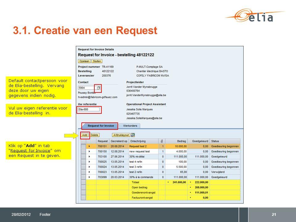 3.1. Creatie van een Request 28/02/2012Footer21 Vul uw eigen referentie voor de Elia-bestelling in.
