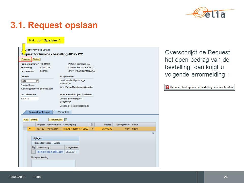 3.1. Request opslaan 28/02/2012Footer23 Klik op Opslaan .