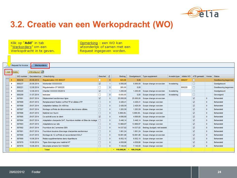 """3.2. Creatie van een Werkopdracht (WO) 28/02/2012Footer24 Opmerking : een WO kan afzonderlijk of samen met een Request ingegeven worden. Klik op """"Add"""""""
