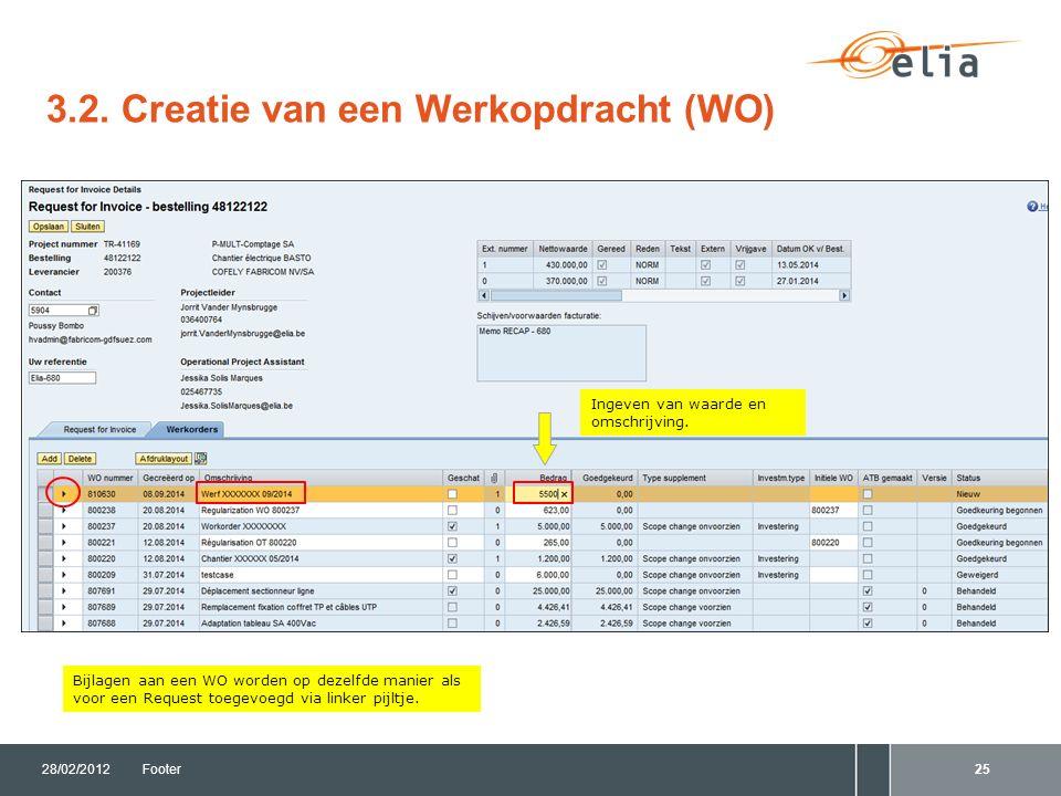 3.2. Creatie van een Werkopdracht (WO) 28/02/2012Footer25 Bijlagen aan een WO worden op dezelfde manier als voor een Request toegevoegd via linker pij