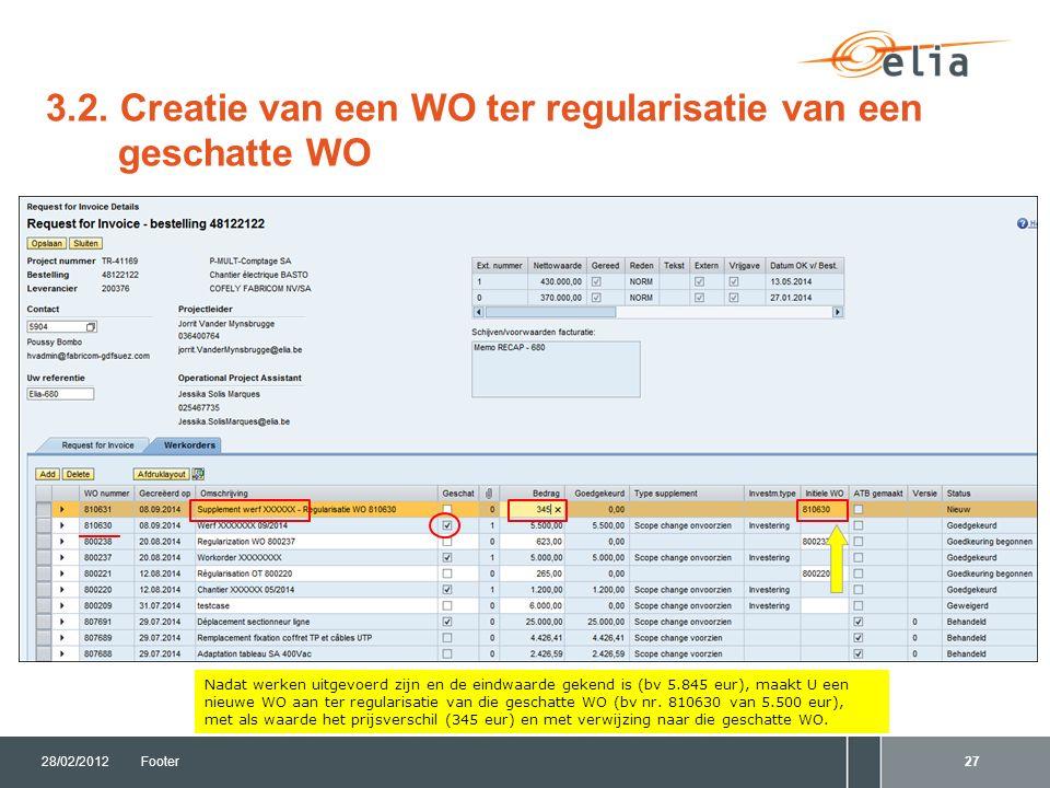 3.2. Creatie van een WO ter regularisatie van een geschatte WO 28/02/2012Footer27 Nadat werken uitgevoerd zijn en de eindwaarde gekend is (bv 5.845 eu