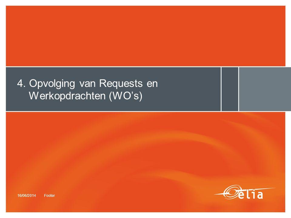 16/06/2014Footer 4. Opvolging van Requests en Werkopdrachten (WO's)