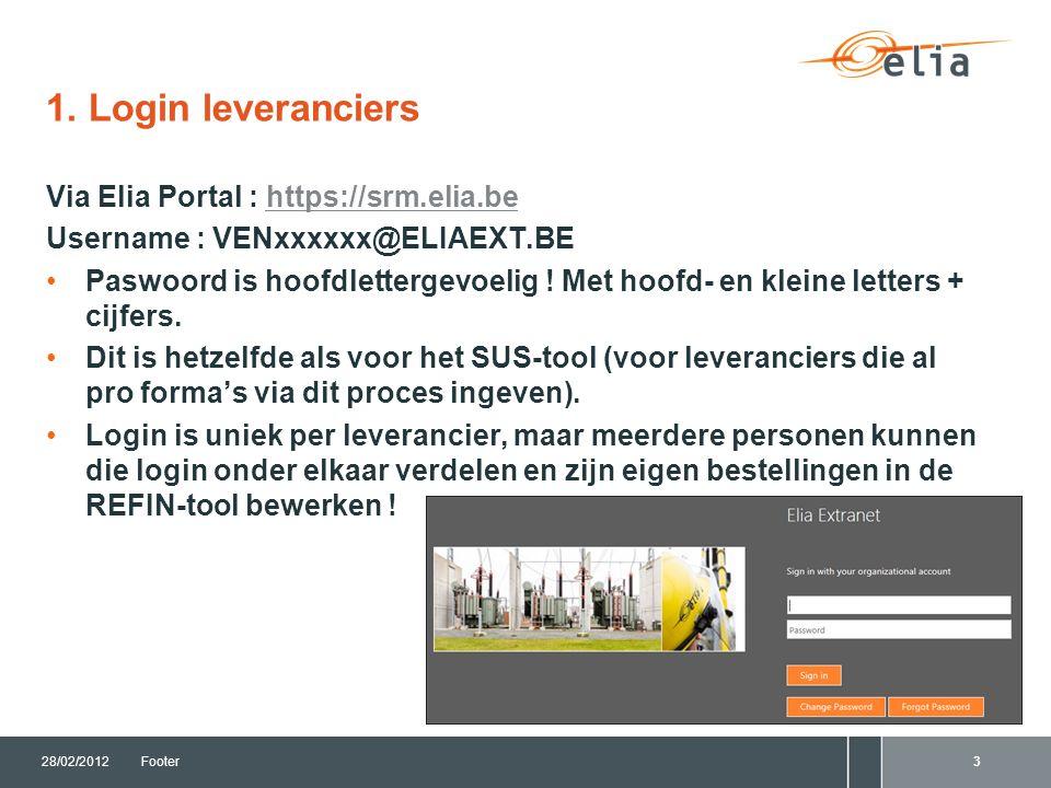 1. Login leveranciers Via Elia Portal : https://srm.elia.behttps://srm.elia.be Username : VENxxxxxx@ELIAEXT.BE Paswoord is hoofdlettergevoelig ! Met h