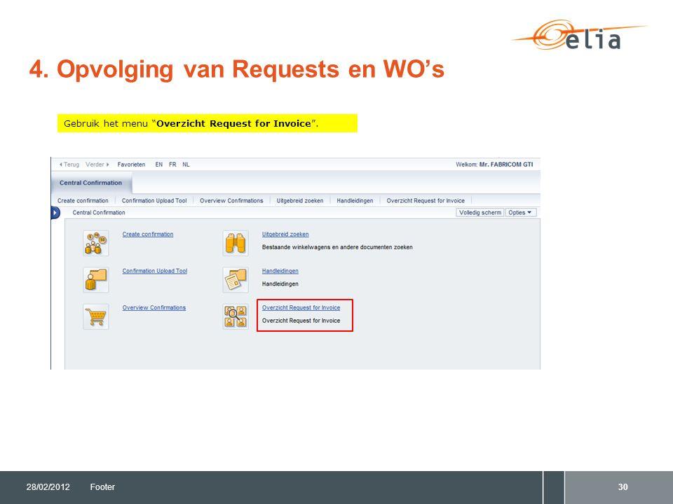 """4. Opvolging van Requests en WO's 28/02/2012Footer30 Gebruik het menu """"Overzicht Request for Invoice""""."""