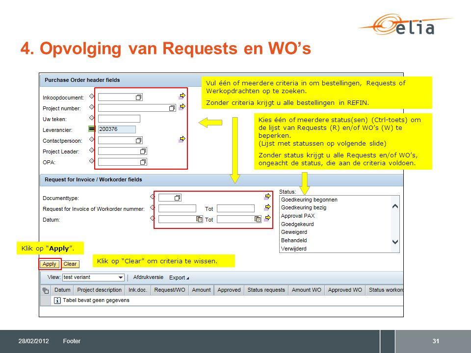 4. Opvolging van Requests en WO's 28/02/2012Footer31 Vul één of meerdere criteria in om bestellingen, Requests of Werkopdrachten op te zoeken. Zonder