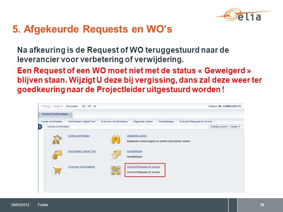 Na afkeuring is de Request of WO teruggestuurd naar de leverancier voor verbetering of verwijdering.