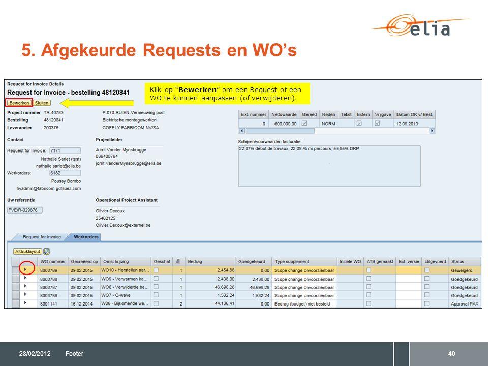 """5. Afgekeurde Requests en WO's 28/02/2012Footer40 Klik op """"Bewerken"""" om een Request of een WO te kunnen aanpassen (of verwijderen)."""