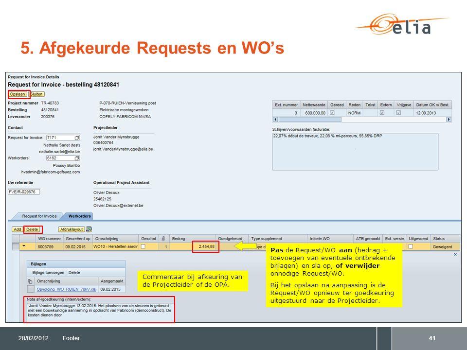 5. Afgekeurde Requests en WO's 28/02/2012Footer41 Pas de Request/WO aan (bedrag + toevoegen van eventuele ontbrekende bijlagen) en sla op, of verwijde