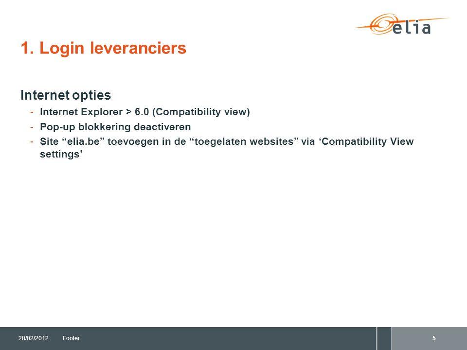"""1. Login leveranciers Internet opties -Internet Explorer > 6.0 (Compatibility view) -Pop-up blokkering deactiveren -Site """"elia.be"""" toevoegen in de """"to"""