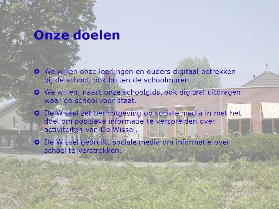 Onze doelen  We willen onze leerlingen en ouders digitaal betrekken bij de school, ook buiten de schoolmuren.