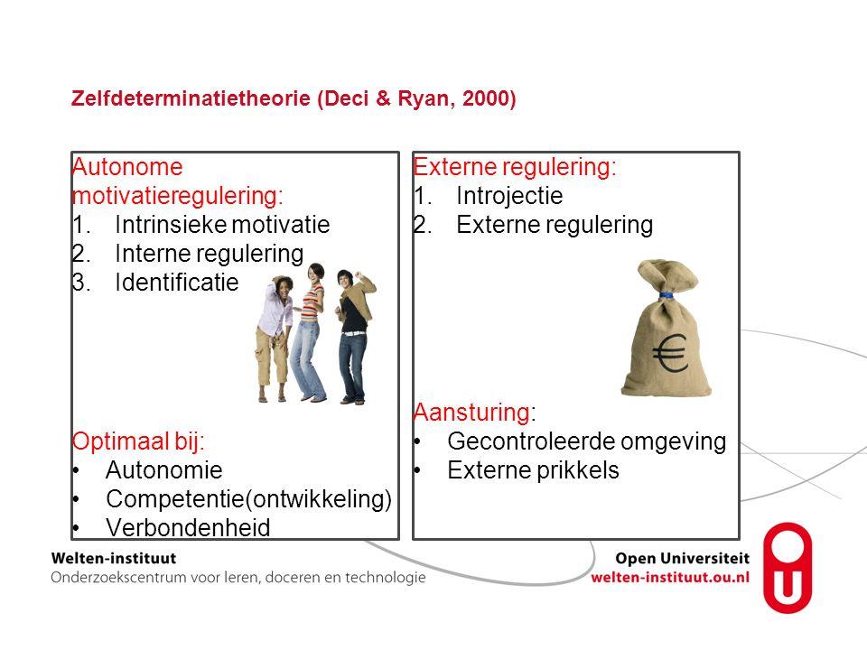 Zelfdeterminatietheorie (Deci & Ryan, 2000) Autonome motivatieregulering: 1.Intrinsieke motivatie 2.Interne regulering 3.Identificatie Optimaal bij: Autonomie Competentie(ontwikkeling) Verbondenheid Externe regulering: 1.Introjectie 2.Externe regulering Aansturing: Gecontroleerde omgeving Externe prikkels