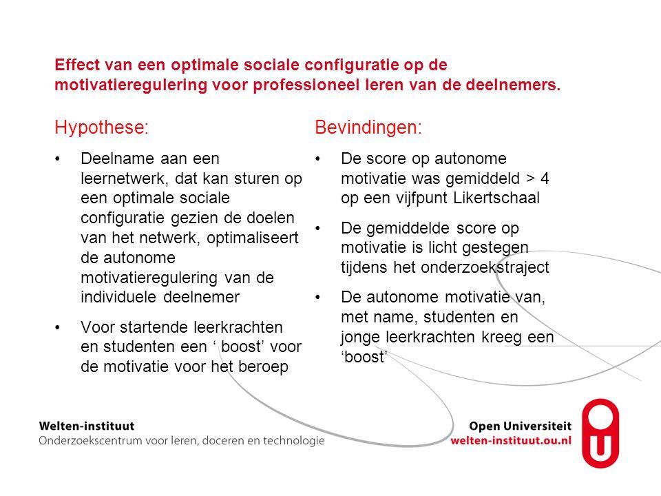 Effect van een optimale sociale configuratie op de motivatieregulering voor professioneel leren van de deelnemers.