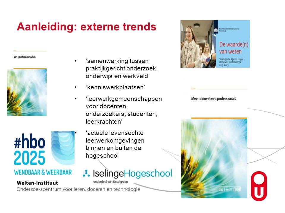 Aanleiding: externe trends 'samenwerking tussen praktijkgericht onderzoek, onderwijs en werkveld' 'kenniswerkplaatsen' 'leerwerkgemeenschappen voor docenten, onderzoekers, studenten, leerkrachten' 'actuele levensechte leerwerkomgevingen binnen en buiten de hogeschool
