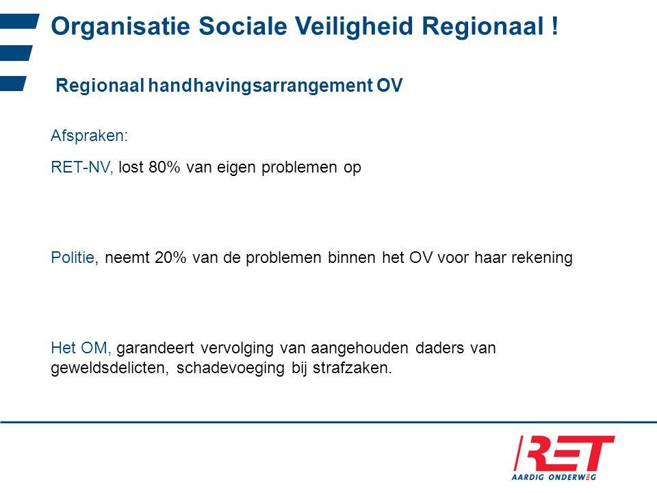 Organisatie Sociale Veiligheid Regionaal ! Regionaal handhavingsarrangement OV Politie, neemt 20% van de problemen binnen het OV voor haar rekening Af