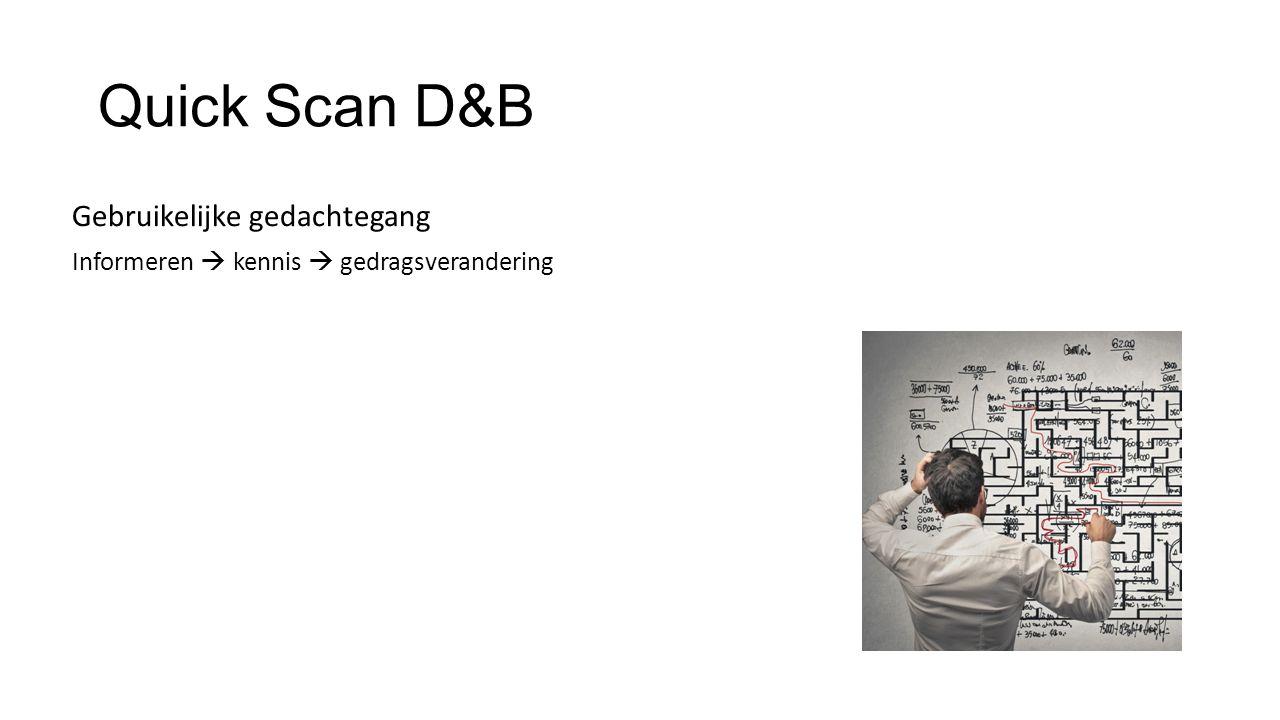 Quick Scan D&B Gebruikelijke gedachtegang Informeren  kennis  gedragsverandering