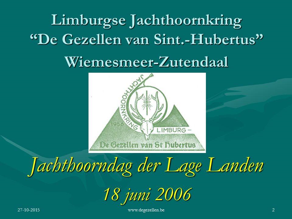 27-10-2015www.degezellen.be1 Remy Maenen Voorzitter De Gezellen van Sint-Hubertus Wiemesmeer-Zutendaal 1956 - 2006