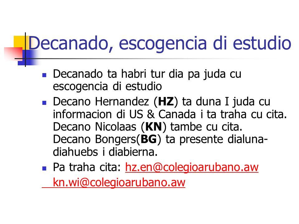 Decanado, escogencia di estudio Decanado ta habri tur dia pa juda cu escogencia di estudio Decano Hernandez (HZ) ta duna I juda cu informacion di US & Canada i ta traha cu cita.