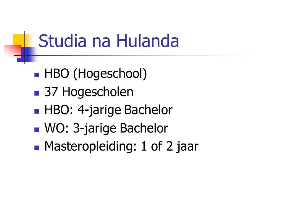Studia na Hulanda HBO (Hogeschool) 37 Hogescholen HBO: 4-jarige Bachelor WO: 3-jarige Bachelor Masteropleiding: 1 of 2 jaar