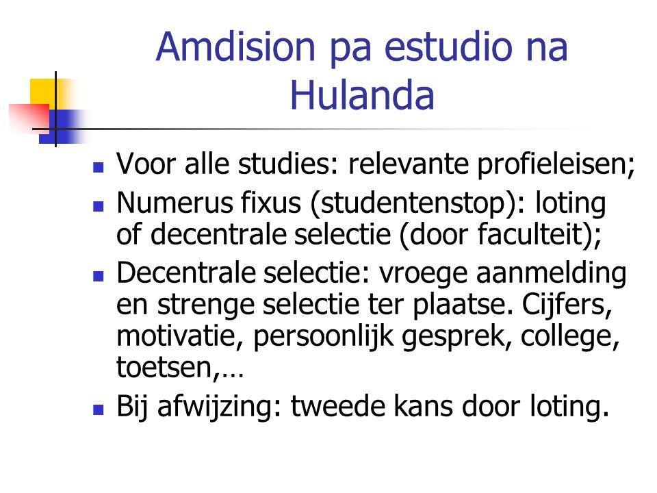 Amdision pa estudio na Hulanda Voor alle studies: relevante profieleisen; Numerus fixus (studentenstop): loting of decentrale selectie (door faculteit); Decentrale selectie: vroege aanmelding en strenge selectie ter plaatse.