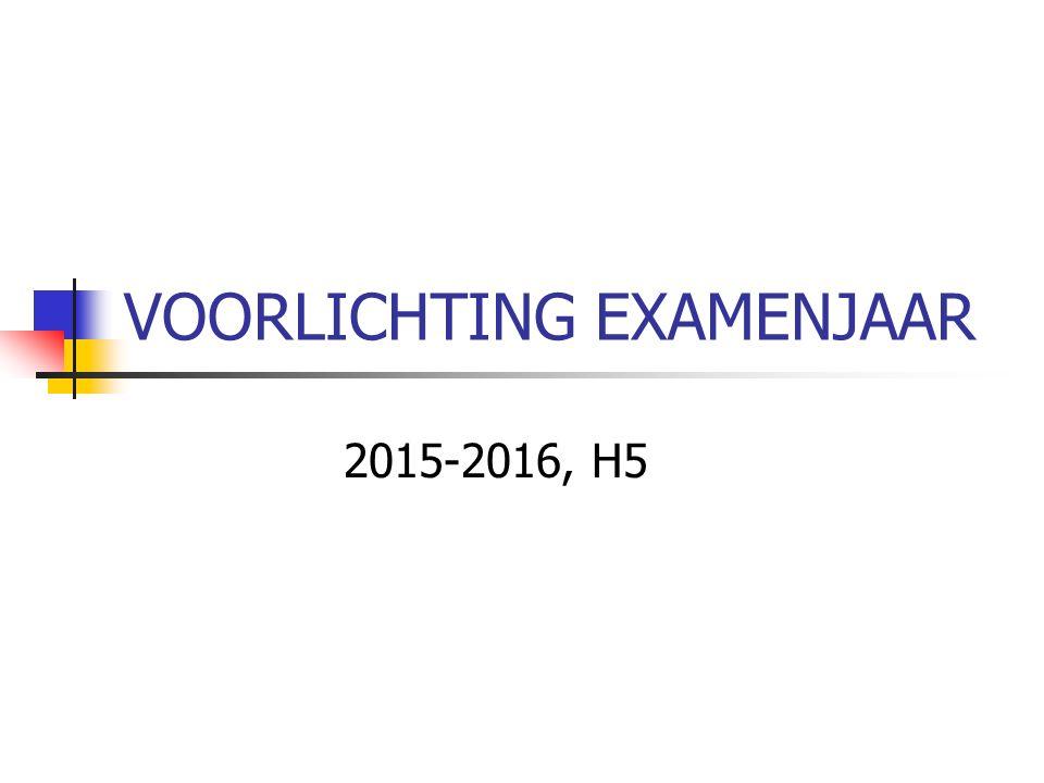 VOORLICHTING EXAMENJAAR 2015-2016, H5