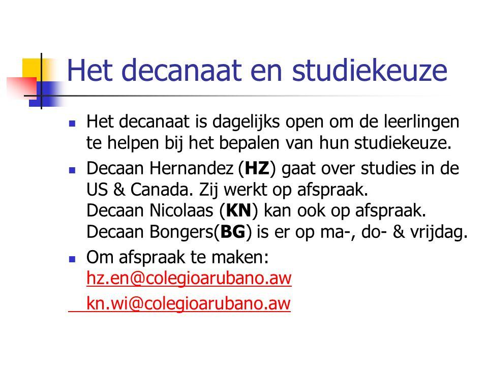 Het decanaat en studiekeuze Het decanaat is dagelijks open om de leerlingen te helpen bij het bepalen van hun studiekeuze.