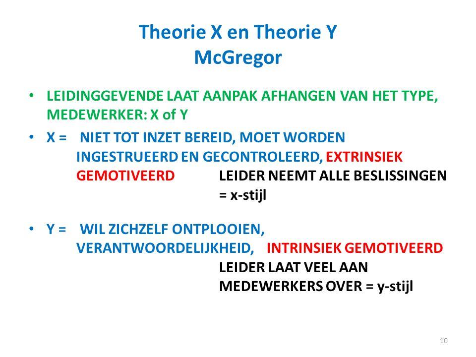 Theorie X en Theorie Y McGregor LEIDINGGEVENDE LAAT AANPAK AFHANGEN VAN HET TYPE, MEDEWERKER: X of Y X = NIET TOT INZET BEREID, MOET WORDEN INGESTRUEERD EN GECONTROLEERD, EXTRINSIEK GEMOTIVEERDLEIDER NEEMT ALLE BESLISSINGEN = x-stijl Y = WIL ZICHZELF ONTPLOOIEN, VERANTWOORDELIJKHEID,INTRINSIEK GEMOTIVEERD LEIDER LAAT VEEL AAN MEDEWERKERS OVER = y-stijl 10