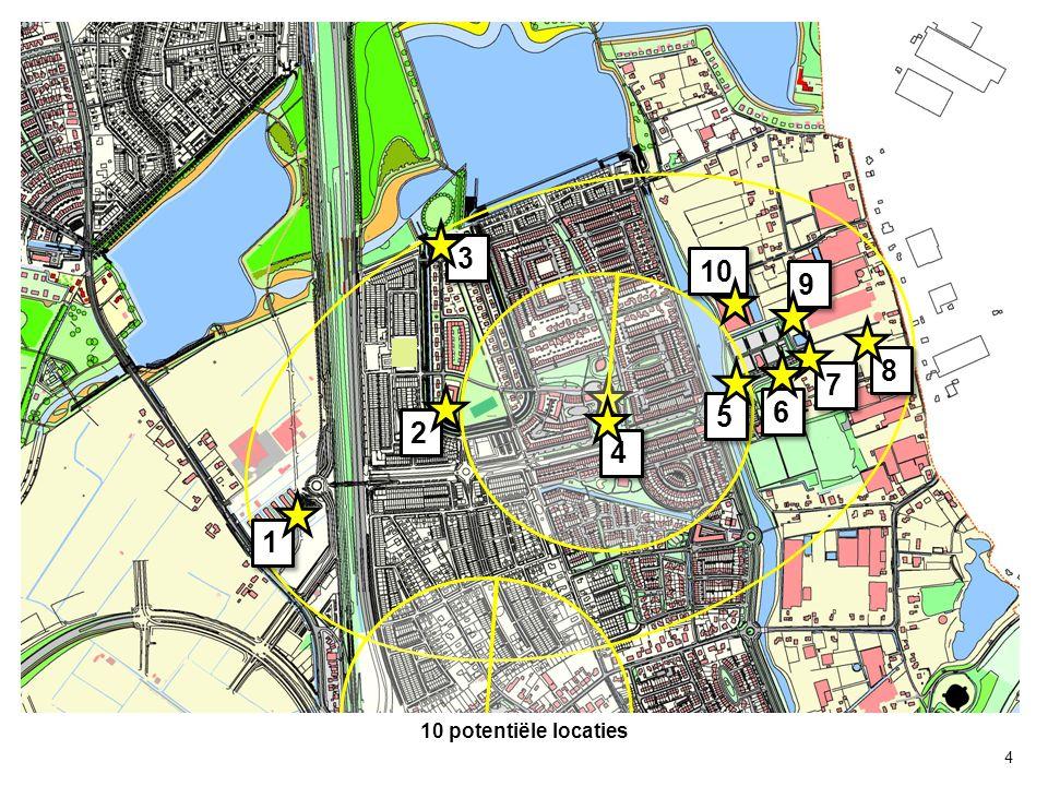 Op dit moment niet verder in onderzoek: Locatie 1: Decentraal Verkeertechnisch In toekomst school gepland voor dat voedingsgebied Ontwikkeling gebied ligt ver in de toekomst Locatie 3: Decentraal Grondaankoop heeft hoge prijs Verkeerstechnisch: 30 km zone v.a.