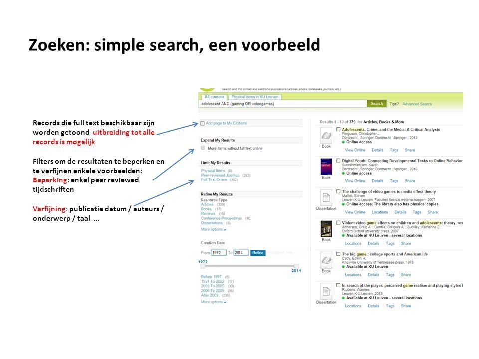 Door het aanvinken van More items without full text online stijgt het aantal resultaten opvallend