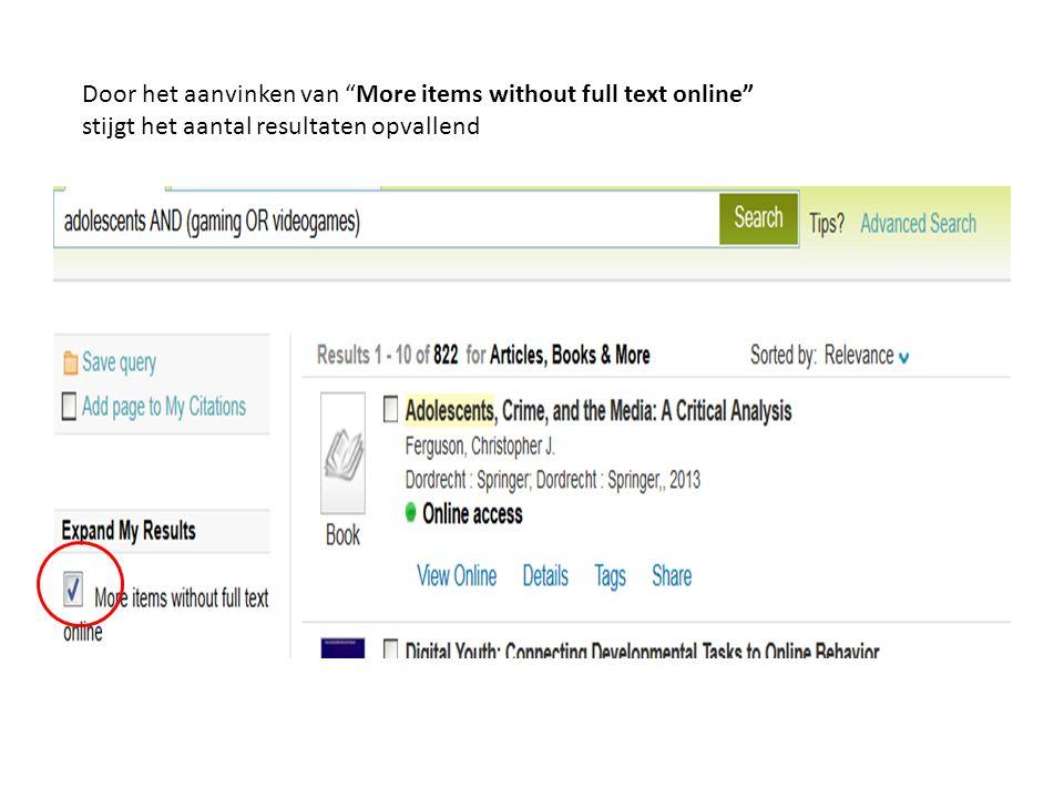 Verfijning op resource type geeft per categorie het aantal weer Bij het zoeken kan het beperken op library een handige filter zijn