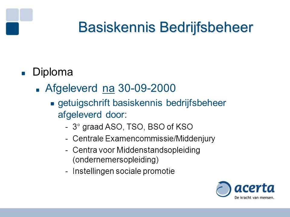 Basiskennis Bedrijfsbeheer Diploma Afgeleverd na 30-09-2000 getuigschrift basiskennis bedrijfsbeheer afgeleverd door: -3° graad ASO, TSO, BSO of KSO -