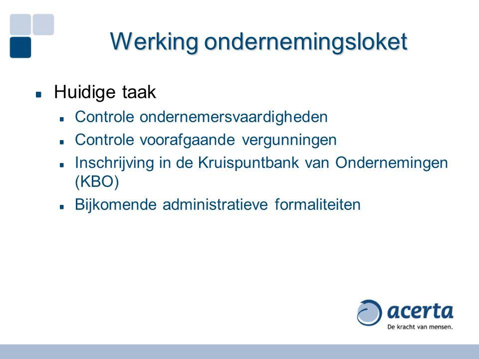 Werking ondernemingsloket Huidige taak Controle ondernemersvaardigheden Controle voorafgaande vergunningen Inschrijving in de Kruispuntbank van Ondern