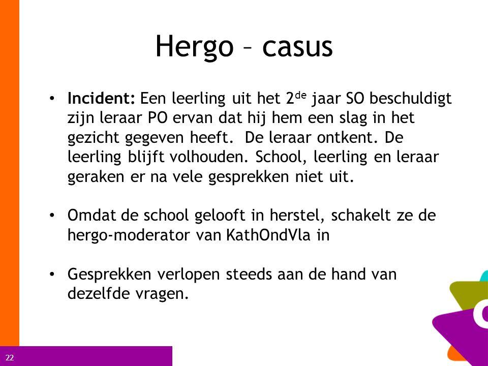 22 Hergo – casus Incident: Een leerling uit het 2 de jaar SO beschuldigt zijn leraar PO ervan dat hij hem een slag in het gezicht gegeven heeft. De le