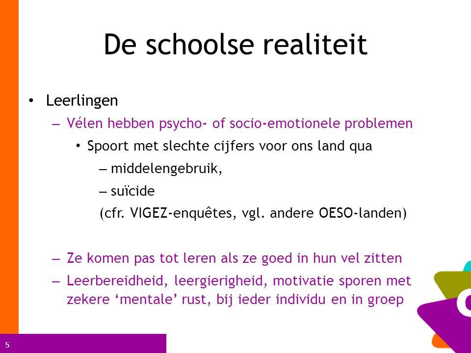 5 De schoolse realiteit Leerlingen – Vélen hebben psycho- of socio-emotionele problemen Spoort met slechte cijfers voor ons land qua – middelengebruik
