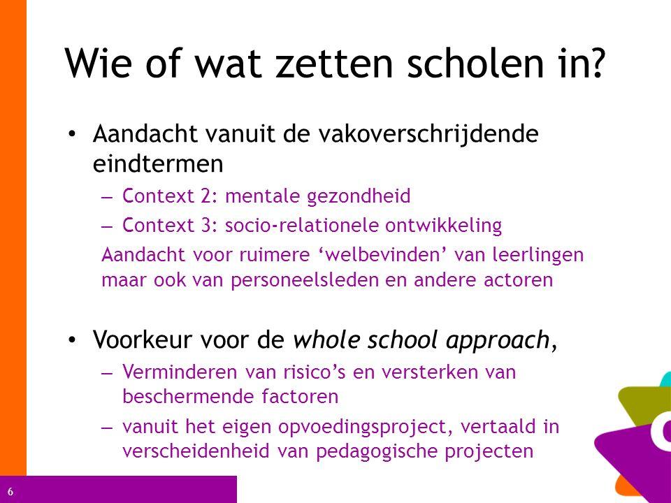 6 Wie of wat zetten scholen in? Aandacht vanuit de vakoverschrijdende eindtermen – Context 2: mentale gezondheid – Context 3: socio-relationele ontwik