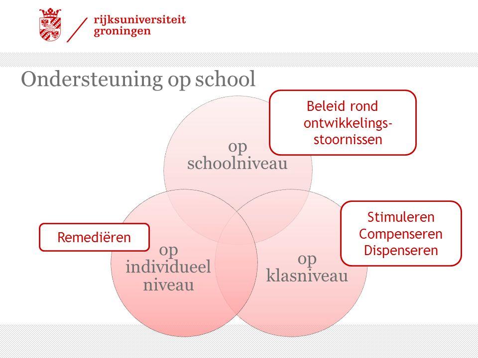 Ondersteuning op school op schoolniveau op klasniveau op individueel niveau Remediëren Stimuleren Compenseren Dispenseren Beleid rond ontwikkelings- stoornissen