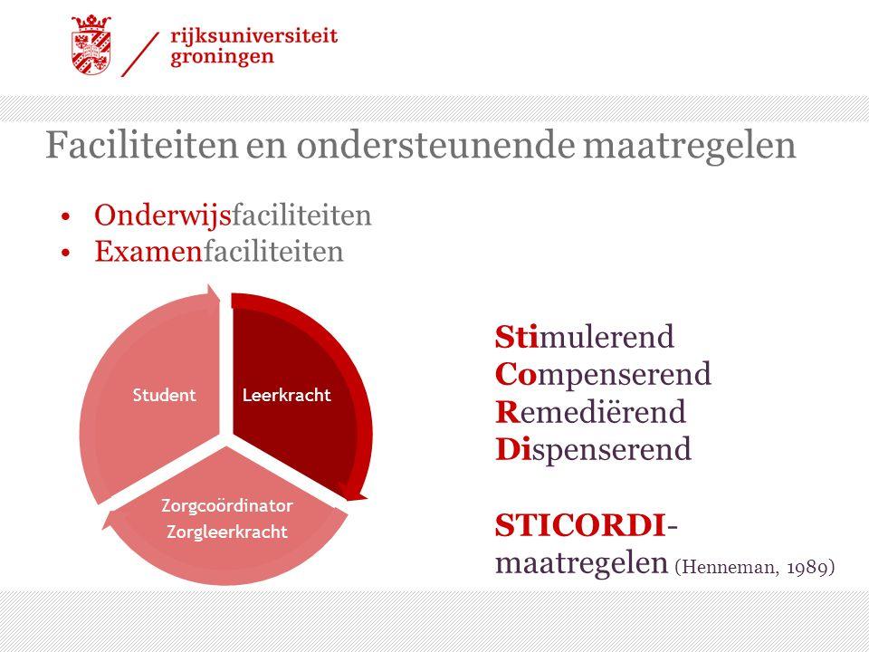 Onderwijsfaciliteiten Examenfaciliteiten Faciliteiten en ondersteunende maatregelen Leerkracht Zorgcoördinator Zorgleerkracht Student Stimulerend Compenserend Remediërend Dispenserend STICORDI- maatregelen (Henneman, 1989)