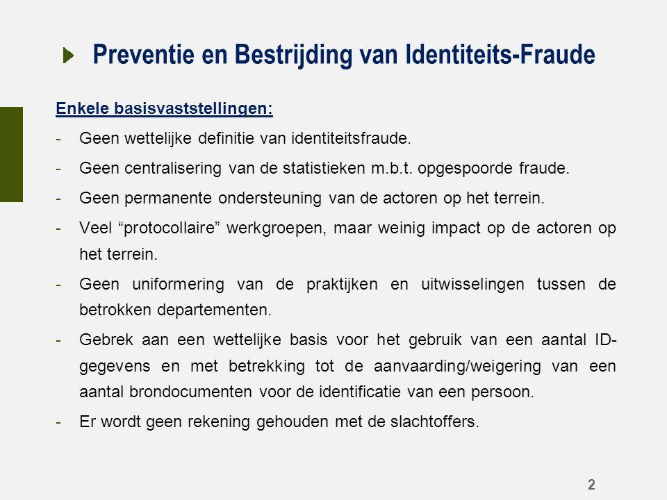 Preventie en Bestrijding van Identiteits-Fraude Enkele basisvaststellingen: -Geen wettelijke definitie van identiteitsfraude.