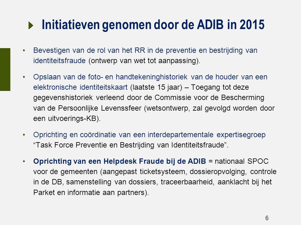 Initiatieven genomen door de ADIB in 2015 Bevestigen van de rol van het RR in de preventie en bestrijding van identiteitsfraude (ontwerp van wet tot aanpassing).