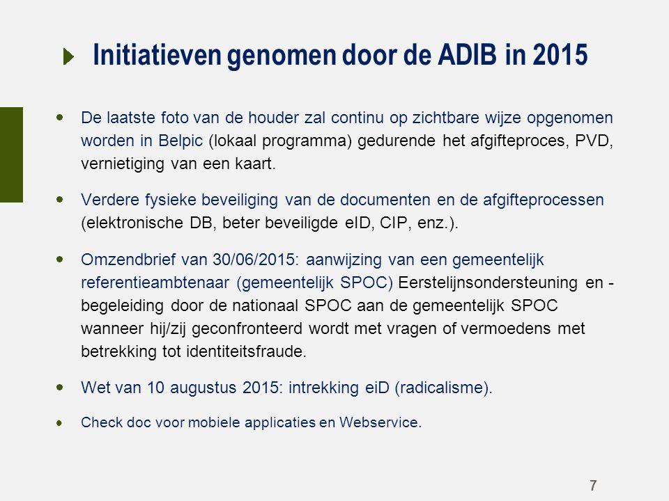 Initiatieven genomen door de ADIB in 2015  De laatste foto van de houder zal continu op zichtbare wijze opgenomen worden in Belpic (lokaal programma) gedurende het afgifteproces, PVD, vernietiging van een kaart.