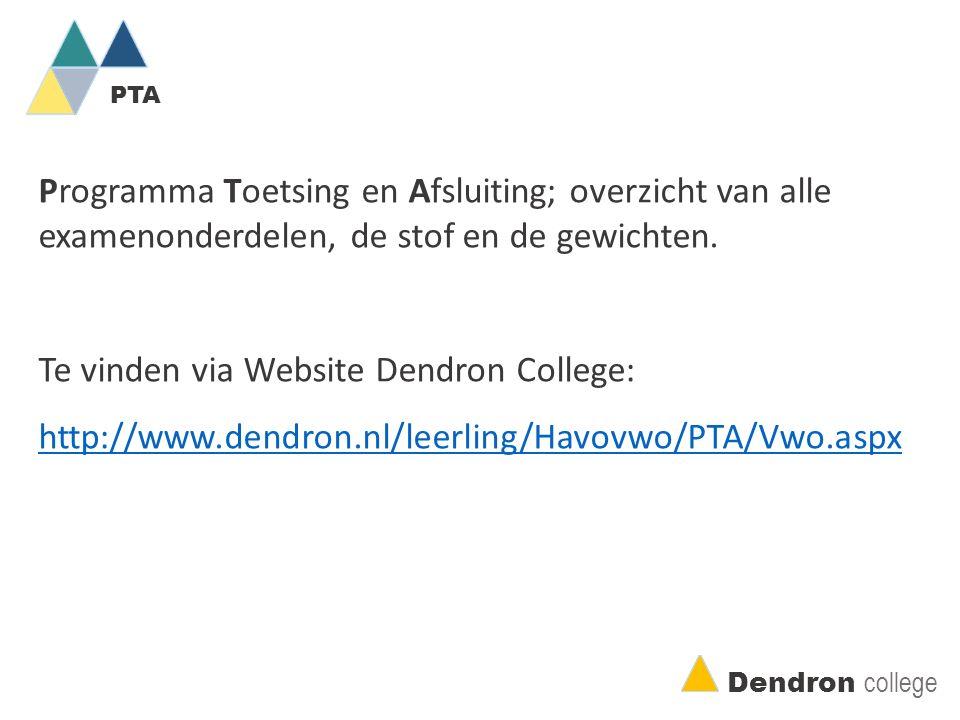PTA Dendron college Programma Toetsing en Afsluiting; overzicht van alle examenonderdelen, de stof en de gewichten.