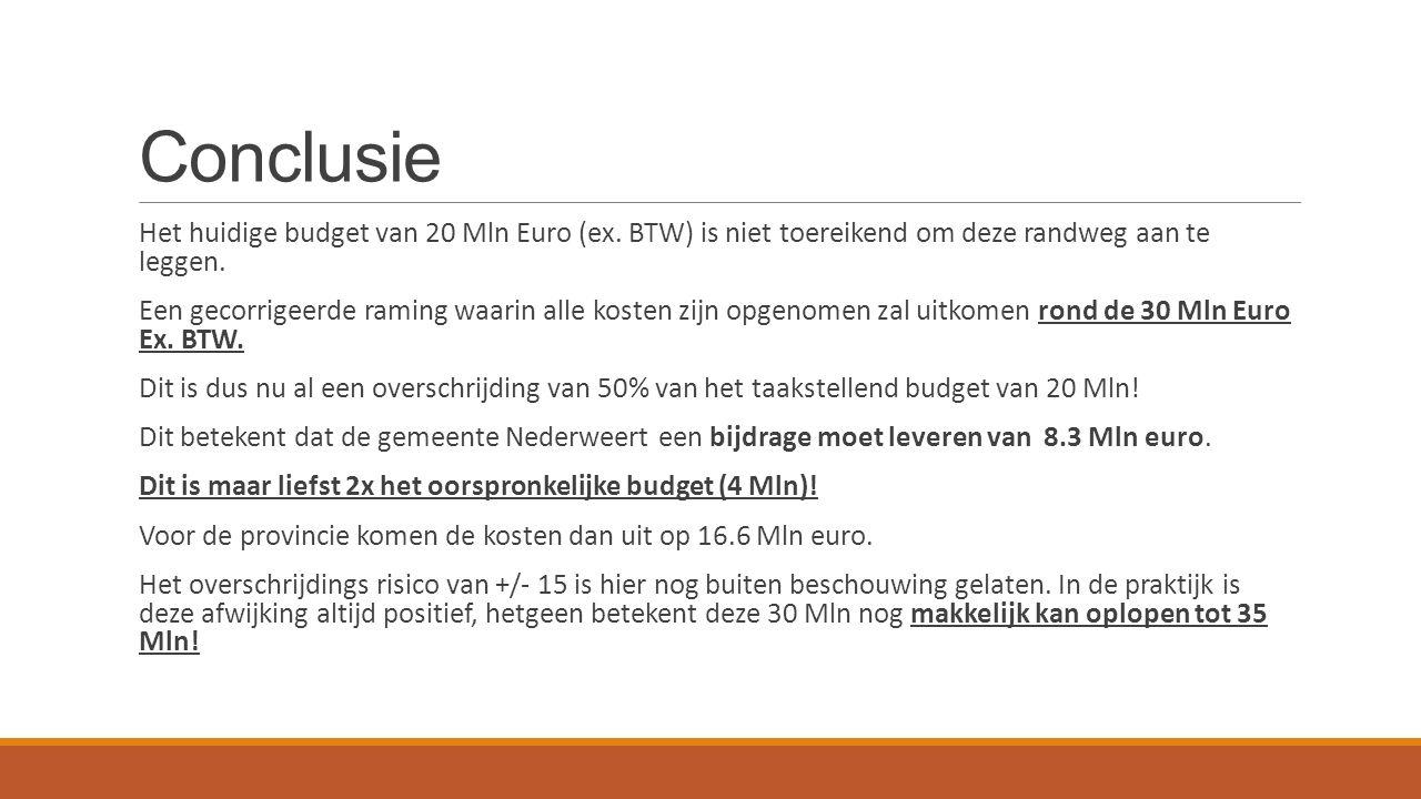 Conclusie Het huidige budget van 20 Mln Euro (ex. BTW) is niet toereikend om deze randweg aan te leggen. Een gecorrigeerde raming waarin alle kosten z