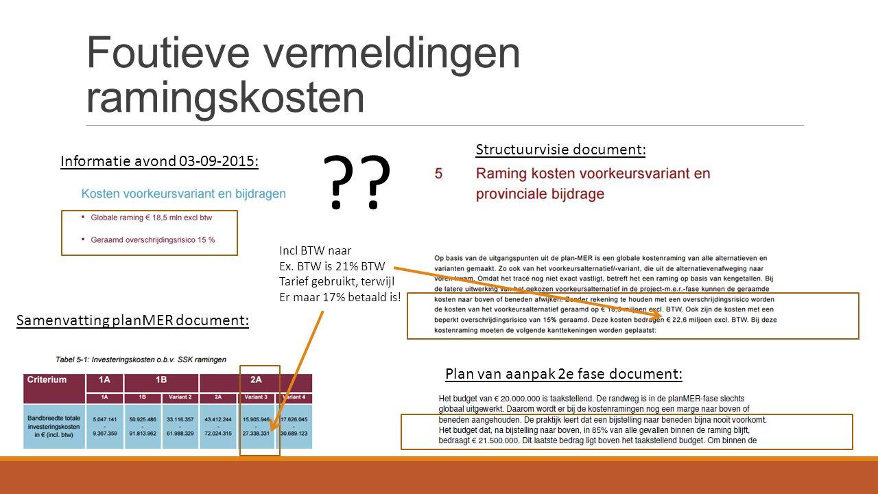 Foutieve vermeldingen ramingskosten ?? Informatie avond 03-09-2015: Structuurvisie document: Samenvatting planMER document: Plan van aanpak 2e fase do