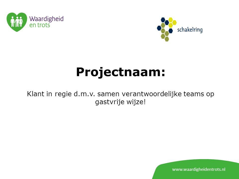 Projectnaam: Klant in regie d.m.v. samen verantwoordelijke teams op gastvrije wijze.