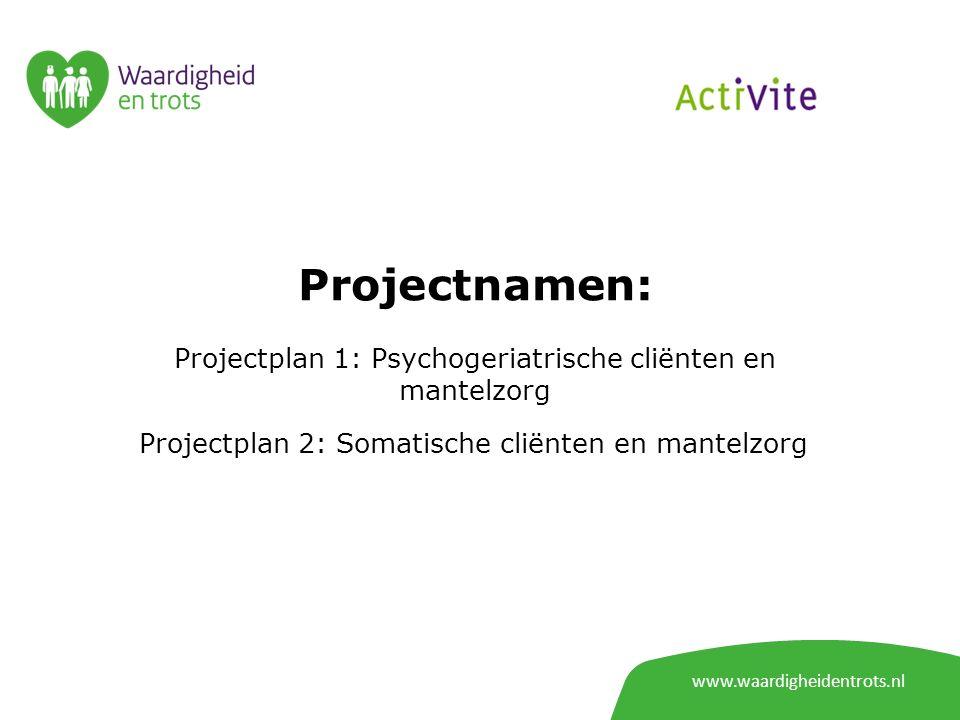 Projectnamen: Projectplan 1: Psychogeriatrische cliënten en mantelzorg Projectplan 2: Somatische cliënten en mantelzorg